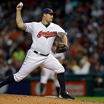 Cleveland Indians relief pitcher Bryan Shaw delivers against the Kansas City Royals in the seventh inning of a baseball game Wednesday, June 19, 2013, in Cleveland. (AP Photo/Mark Duncan)