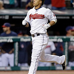 Cleveland Indians' Michael Brantley jogs home after a solo home run against the Kansas City Royals in the eighth inning of a baseball game on Wednesday, June 19, 2013, in Cleveland. The home …