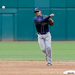 Tampa Bay Rays shortstop Yunel Escobar throws out a runner in a baseball game against the Cleveland Indians Saturday, June 1, 2013, in Cleveland. (AP Photo/Mark Duncan)