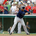 Tampa Bay Rays' James Loney bats against the Cleveland Indians in a baseball game Saturday, June 1, 2013, in Cleveland. (AP Photo/Mark Duncan)