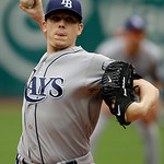 Tampa Bay Rays starting pitcher Jeremy Hellickson delivers against the Cleveland Indians in the first inning of the MLB American League baseball game Sunday, June 2, 2013, in Cleveland. (AP  …