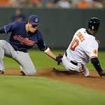 Cleveland Indians second baseman Jason Kipnis, left, tags out Baltimore Orioles' Adam Jones as he was attempting to steal second during the fifth inning of a baseball game, Monday, June 24,  …
