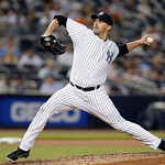 New York Yankees pitcher Andy Pettitte, in his first start since coming off the disabled list, delivers in the fifth inning of a baseball game against the Cleveland Indians at Yankee Stadium …