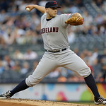 Cleveland Indians starting pitcher Justin Masterson delivers in the first inning of a baseball game against the New York Yankees at Yankee Stadium in New York, Monday, June 3, 2013.  (AP Pho …