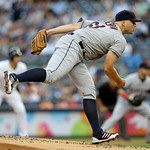 Cleveland Indians starting pitcher Justin Masterson delivers in the first inning against the New York Yankees in a baseball game at Yankee Stadium in New York, Monday, June 3, 2013. (AP Phot …