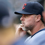 Cleveland Indians designated hitter Jason Giambi sits in the dugout in the first inning of a baseball game against the New York Yankees at Yankee Stadium in New York, Monday, June 3, 2013.   …