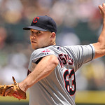 Cleveland Indians starter Justin Masterson delivers a pitch during the first inning of an MLB baseball game against the Chicago White Sox in Chicago, June 30, 2013. Cleveland won 4-0. (AP Ph …