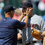 Cleveland Indians manager Terry Francona left, celebrates with starting pitcher Justin Masterson right, after defeating the Chicago White Sox 4-0 in a baseball game in Chicago, June 30, 2013 …