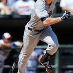 Cleveland Indians' Drew Stubbs watches his RBI ground rule double during the ninth inning of a baseball game against the Chicago White Sox in Chicago, Sunday, June 30, 2013. Cleveland won 4- …