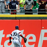 Chicago White Sox center fielder Alejandro De Aza watches Cleveland Indians' Drew Stubbs' RBI ground rule double during the ninth inning of a baseball game in Chicago, June 30, 2013. Clevela …