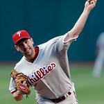 Philadelphia Phillies starting pitcher Cliff Lee delivers in the first inning of a baseball game against the Cleveland Indians, Wednesday, May 1, 2013, in Cleveland. (AP Photo/Tony Dejak)