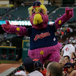 The Cleveland Indians mascot Slider works the crowd during a baseball game between the Indians and the Philadelphia Phillies, Wednesday, May 1, 2013, in Cleveland. (AP Photo/Tony Dejak)