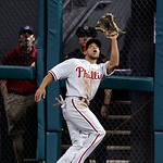 Philadelphia Phillies' Ben Revere catches a fly ball hit by Cleveland Indians' Mike Aviles in the fifth inning of a baseball game on Wednesday, May 1, 2013, in Cleveland. (AP Photo/Tony Deja …