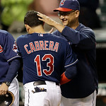 Cleveland Indians manager Terry Francona, right, congratulates Asdrubal Cabrera after they defeated the Philadelphia Phillies 6-0 in a baseball game on Wednesday, May 1, 2013, in Cleveland.  …