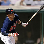 Cleveland Indians' Ryan Raburn hits an RBI-double off Philadelphia Phillies starting pitcher Cliff Lee in the fifth inning of a baseball game on Wednesday, May 1, 2013, in Cleveland. Mark Re …