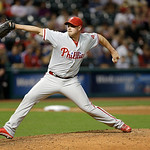 Philadelphia Phillies relief pitcher Jeremy Horst pitches in the seventh inning of a baseball game against the Cleveland Indians, Wednesday, May 1, 2013, in Cleveland. (AP Photo/Tony Dejak)