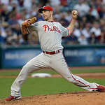Philadelphia Phillies starting pitcher Cliff Lee pitches in the third inning of a baseball game against the Cleveland Indians, Wednesday, May 1, 2013, in Cleveland. (AP Photo/Tony Dejak)