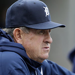 Detroit Tigers bench coach Gene Lamont is seen during the fifth inning of a baseball game against the Cleveland Indians in Detroit, Sunday, May 12, 2013. (AP Photo/Carlos Osorio)