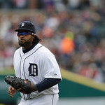 Detroit Tigers first baseman Prince Fielder walks back to the dugout during the fourth inning of a baseball game against the Cleveland Indians in Detroit, Sunday, May 12, 2013. (AP Photo/Car …