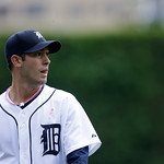 Detroit Tigers starting pitcher Rick Porcello walks away from the mound during the third inning of a baseball game against the Cleveland Indians in Detroit, Sunday, May 12, 2013. (AP Photo/C …