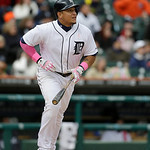 Detroit Tigers' Miguel Cabrera bats during the ninth inning of a baseball game against the Cleveland Indians in Detroit, Sunday, May 12, 2013. (AP Photo/Carlos Osorio)
