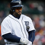 Detroit Tigers first baseman Prince Fielder prepares to bat during the tenth inning of a baseball game against the Cleveland Indians in Detroit, Sunday, May 12, 2013. (AP Photo/Carlos Osorio …