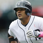 Detroit Tigers' Brayan Pena runs to the dugout after his two-run home run during the second inning of a baseball game against the Cleveland Indians in Detroit, Sunday, May 12, 2013. (AP Phot …