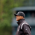 First base umpire C.B. Bucknor is seen during the seventh inning of a baseball game between the Detroit Tigers and the Cleveland Indians in Detroit, Sunday, May 12, 2013. (AP Photo/Carlos Os …