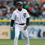 Detroit Tigers third base coach Tom Brookens is seen during the third inning of a baseball game against the Cleveland Indians in Detroit, Sunday, May 12, 2013. (AP Photo/Carlos Osorio)