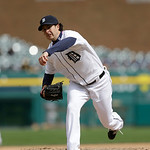 Detroit Tigers relief pitcher Darin Downs throws during the tenth inning of a baseball game against the Cleveland Indians in Detroit, Sunday, May 12, 2013. (AP Photo/Carlos Osorio)