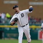 Detroit Tigers relief pitcher Phil Coke throws during the seventh inning of a baseball game against the Cleveland Indians in Detroit, Sunday, May 12, 2013. (AP Photo/Carlos Osorio)