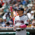 Cleveland Indians' Asdrubal Cabrera prepares to bat during the first inning of a baseball game against the Detroit Tigers in Detroit, Sunday, May 12, 2013. (AP Photo/Carlos Osorio)