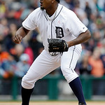 Detroit Tigers relief pitcher Jose Valverde throws during the ninth inning of a baseball game against the Cleveland Indians in Detroit, Sunday, May 12, 2013. (AP Photo/Carlos Osorio)
