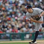 Cleveland Indians relief pitcher Bryan Shaw throws during the seventh inning of a baseball game against the Detroit Tigers in Detroit, Sunday, May 12, 2013. (AP Photo/Carlos Osorio)
