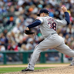 Cleveland Indians relief pitcher Joe Smith throws during the ninth inning of a baseball game against the Detroit Tigers in Detroit, Sunday, May 12, 2013. (AP Photo/Carlos Osorio)