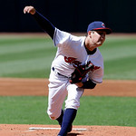 Cleveland Indians starting pitcher Trevor Bauer pitches in the first inning in the second baseball game of a doubleheader against the New York Yankees, Monday, May 13, 2013, in Cleveland. (A …