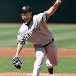 New York Yankees starting pitcher Vidal Nuno pitches in the first inning in the second baseball game of a doubleheader against the Cleveland Indians, Monday, May 13, 2013, in Cleveland. (AP  …