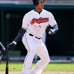 Cleveland Indians' Michael Brantley hits a single off New York Yankees starting pitcher Vidal Nuno in the fifth inning in the second baseball game of a doubleheader, Monday, May 13, 2013, in …