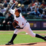 Cleveland Indians pitcher Trevor Bauer pitches in the first inning in the second baseball game of a doubleheader against the New York Yankees, Monday, May 13, 2013, in Cleveland. (AP Photo/T …