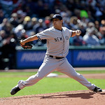 New York Yankees starting pitcher Vidal Nuno pitches in the third inning in the second baseball game of a doubleheader against the Cleveland Indians, Monday, May 13, 2013, in Cleveland. (AP  …