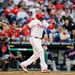 Philadelphia Phillies' Ryan Howard in action during an interleague baseball game against the Cleveland Indians, Tuesday, May 14, 2013, in Philadelphia. (AP Photo/Matt Slocum)