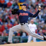 Cleveland Indians' Scott Kazmir pitches in the first inning of the Indians' baseball game against the Philadelphia Phillies, Tuesday, May 14, 2013, in Philadelphia. (AP Photo/Matt Slocum)