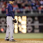 Cleveland Indians' Scott Kazmir in action during an interleague baseball game against the Philadelphia Phillies, Tuesday, May 14, 2013, in Philadelphia. (AP Photo/Matt Slocum)