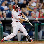 Philadelphia Phillies' Kevin Frandsen hits a home run off Cleveland Indians starting pitcher Scott Kazmir in the first inning of a baseball game, Tuesday, May 14, 2013, in Philadelphia. (AP  …