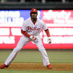 Philadelphia Phillies' Domonic Brown in action during an interleague baseball game against the Cleveland Indians, Tuesday, May 14, 2013, in Philadelphia. (AP Photo/Matt Slocum)