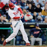 Philadelphia Phillies' Delmon Young in action during an interleague baseball game against the Cleveland Indians, Tuesday, May 14, 2013, in Philadelphia. (AP Photo/Matt Slocum)
