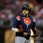 Cleveland Indians' Carlos Santana in action during an interleague baseball game against the Philadelphia Phillies, Tuesday, May 14, 2013, in Philadelphia. (AP Photo/Matt Slocum)