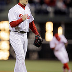 Philadelphia Phillies' Jonathan Papelbon reacts after Cleveland Indians' Michael Bourn grounded out to end a baseball game, Tuesday, May 14, 2013, in Philadelphia. Philadelphia won 6-2. (AP  …