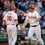 Philadelphia Phillies' Kevin Frandsen, right, and Michael Young celebrate during an interleague baseball game against the Cleveland Indians, Tuesday, May 14, 2013, in Philadelphia. (AP Photo …