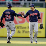 Cleveland Indians' Michael Bourn, left, and Jason Kipnis react during an interleague baseball game against the Philadelphia Phillies, Tuesday, May 14, 2013, in Philadelphia. (AP Photo/Matt S …